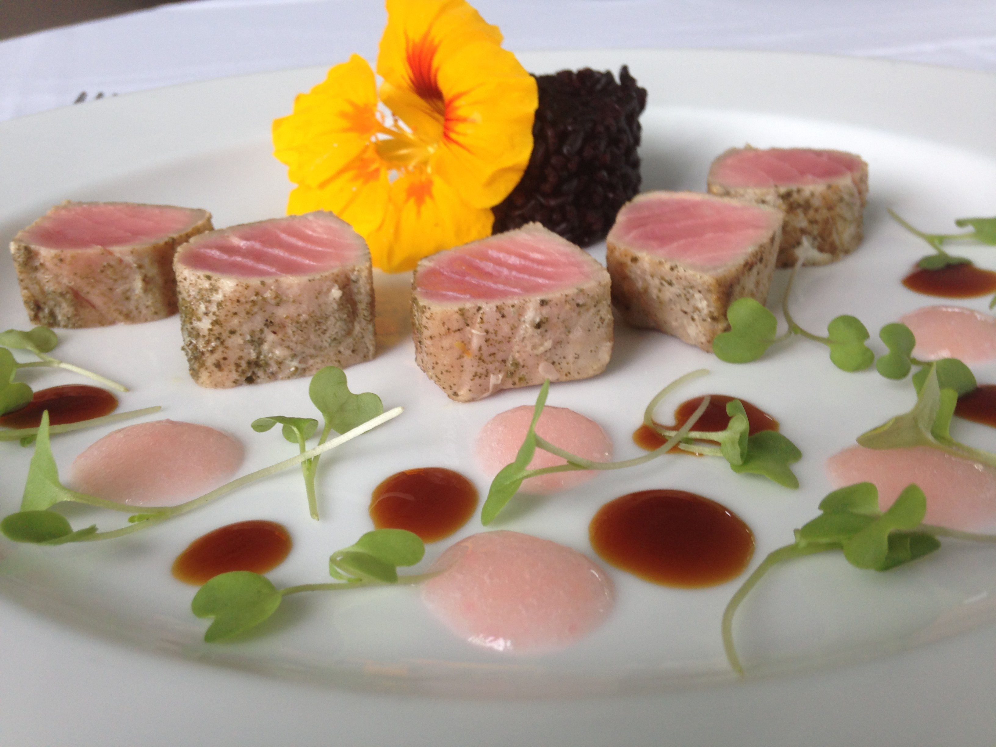 Green Tea Seared Tuna, Forbidden Rice, Pickled Ginger Emulsion, Soy Reduction, Wasabi Shoots.