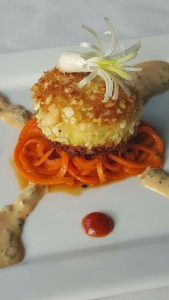 Almond Crusted Crab Cake with sesame carrot salad and Asian remoulade