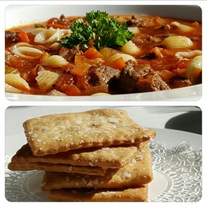 Beef Tomato Macaroni Soup with Fresh Baked Saltine Crackers