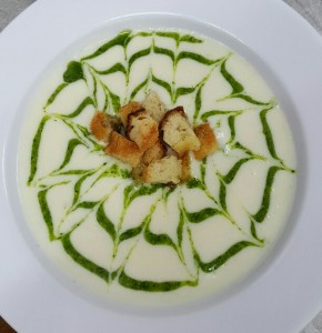 Spring Parsnip Soup with Fresh Herb Pesto and truffle Croutons