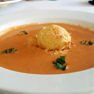 Tomato Bisque with Pecorino Gougere